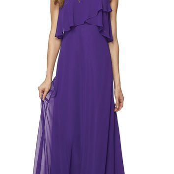 Purple Long Bridesmaid Dress Ruffled Bodice