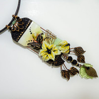 Yellow lily pendant yellow and black flower necklace Handmade jewelry Polymer clay yellow black  light green pendant gift for women