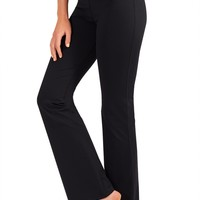 Bootcut Yoga Pants With Fabric - Short - Black