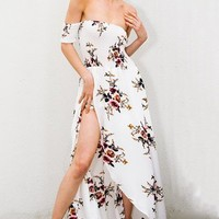 Go To Beach White Swing Shirred Floral Dress