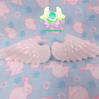 Fairy Kei Angel Wing Hair Clips  White with Glitter by rarasjewels