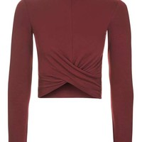 Long Sleeve Twist Front Crop Top - New In