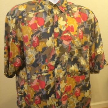 GOOUCH 100% Pure Silk Men's Short Sleeve Casual Shirt Size Medium Multicolored