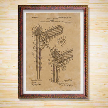 Pistol Blueprint poster Gun decor Patent print