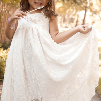 2015 Lace Flower Girl Dress, Girls Lace Maxi, Girls Rustic Dress, Toddler Dress, Flower Girl Dress