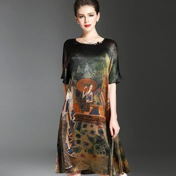 Vintage Ethnic Painting Design Dress Women Summer Half Sleeve Soft Silk Dresses Elegant Woman Brand Vestidos O-Neck Plus Size