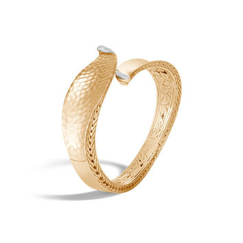 John Hardy Classic Chain 18k Gold Wave Hinge Bangle w/ Diamonds, Size M