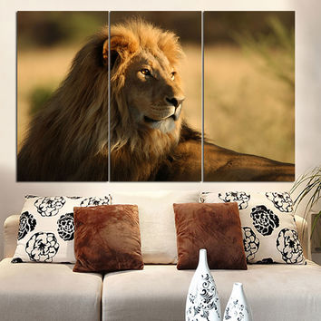 No Frame Lion Canvas Painting Animal Poster Landscape Cuadros Decoration Home Decor Wall Art Canvas Picture for Living Room 3pcs