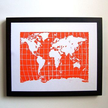PRINT world map ORANGE LINOCUT POSTER 8X10 by thebigharumph