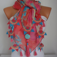 Scarf Turkish-Anatolian Oya Scarf Hand Crocheted Lace Scarf Pink-Blue Batik Cotton Scarf Ethnic Scarf AuthenticScarf Turquoise Natural Stone