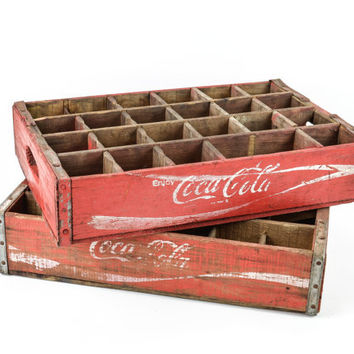 Pair Vintage Wood Coke Crates with Dividers