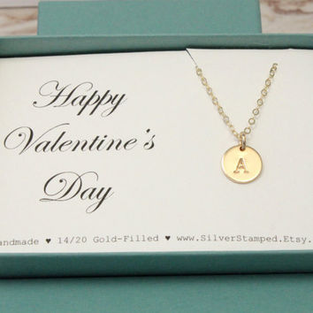 Valentine's Day gift - Gold initial necklace - gold filled necklace - Happy Valentines Day - tiny initial necklace - handmade hand stamped