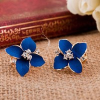 Unique Cute Four Leaves Rhinestone Earrings