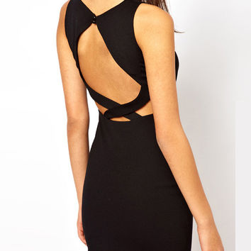 Sleeveless Front and Back Cut-out Bodycon Dress with Gold Button