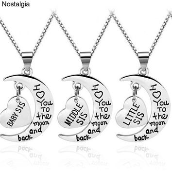 Nostalgia Baby Little Middle Big Sister Heart Necklace Moon Pendant Babygirl Jewlery I Love You To The Moon And Back