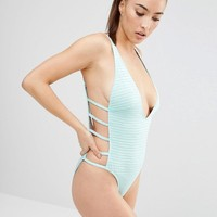 Wolf & Whistle | Wolf & Whistle Textured Mint Swimsuit at ASOS