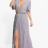 Boutique Tiai All Sequin Tie Back Maxi Dress | Boohoo