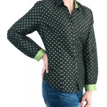 Beluva Womens Sexy Polka Dot Casual Button Down Long Sleeve Blouse Made In USA
