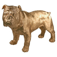 Golden Bulldog Shelf Decor