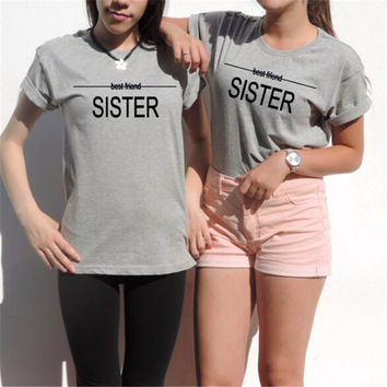 Harajuku Women Ladies Sexy Best friends t shirt Gift unbiological sisters Tumblr Tee tops Casual Gray T-Shirt Women 1pcs F10962