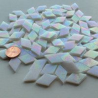 Mosaic Tiles - 100 Small Diamonds - Iridescent White Stained Glass - Hand-Cut
