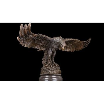 Eagle Hawk Bronze Copper Marble Statue Sculpture Figurine