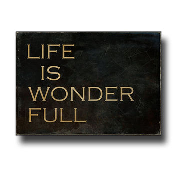 Life Is Wonder Full Sign, Small Distressed Mini Canvas, Rustic Farmhouse Decor, Antique Style Typography, Wall Art, Black & Copper