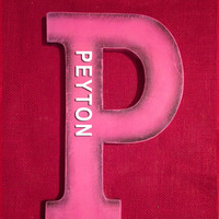 Peyton( Wooden name) pink letter monogram nursery decoration