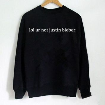DCCKJ1A New women's letter sweater lol ur not justin bieber