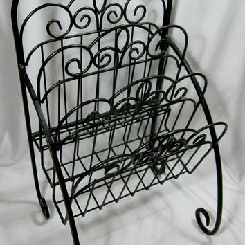 Black Wrought Iron Magazine Rack Newspaper Stand Scrolled 3 Tier Retro