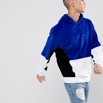 ASOS Oversized Hoodie In Velour With Colour Block at asos.com