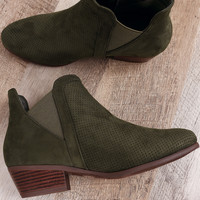 Perforated Suede Almond Toe Elastic Gore Ankle Boots | UrbanOG