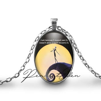 The Nightmare Before Christmas Necklace Keychain , Jack and Sally Quote Necklace pendant, TNBC, Anniversary Valentine's day Christmas gift