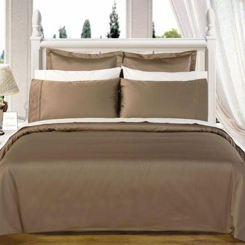 "Taupe 550TC Olympic Queen Solid Bed in A Bag 90x92"" Combed cotton With Down Alternative Comforter"