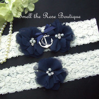 Nautical Wedding Anchor Garter Set,Navy Blue Wedding Garter Set