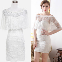Retro Vintage Rockabilly White Lace Satin Short Wedding Wrap Dress SKU-401304
