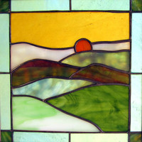 "West Virginia Hills Stained Glass Quilt Square 9"" Handmade Stained Glass Window Panel"