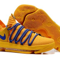 Nike Mens Kevin Durant KD 10 Warrior Yellow Basketball Shoes