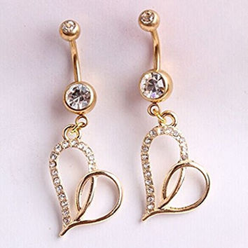 Sunshinesmile 1pcs 316l Surgical Steel Gold Heart-shaped Belly Button Naval Ring