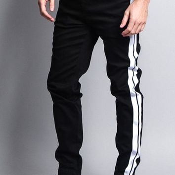 Men's Track Style Thick Striped Joggers JG3008 - F11C
