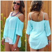 Twice Shy Mint Open Shoulder Blouse