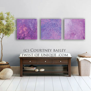 3 panel abstract wall art, - 3 square Large CUSTOM Abstract Painting, abstract artwork, -Purple, Lavender, Royal purple, white, eggplant