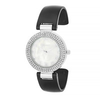 Silvertone Bangle Watch with Crystals - Black