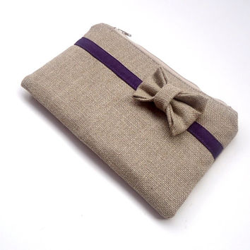 Bow Clutch - Bridesmaid Gift - Burlap Clutch - Eggplant Wedding