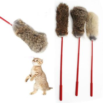 Random Color Pet Design Soft Rabbit Fur Rod Toys Tease Cat Feather Exercise Durable Toys For Gatos