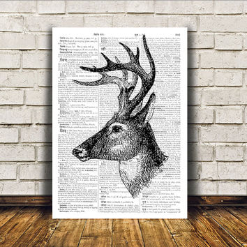 Deer poster Animal art Wall decor Dictionary print RTA103