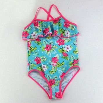 ONETOW Children Bathing Suit Retail Cute Children's Swimsuit Girls Flowers Printed Baby Girl Swimwear One-piece Swimsuits Beach Clothes