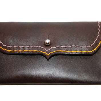 Custom Leather women's personalized wallet. You choose color, thread, and monogram. The Jamie