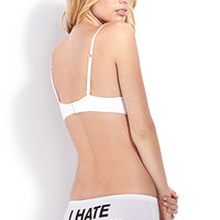 FOREVER 21 Mondays Hater Boyshorts White/Black Small