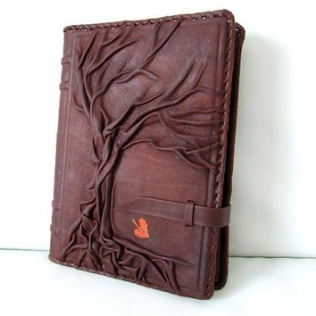 9 x 6.5 Tree of Life - Refillable Vintage Natural Handmade Leather  / Journal / Diary / Notebook / Daily Planner / Book Cove